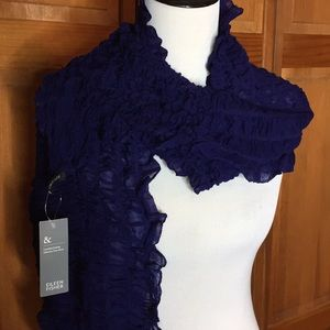 EILEEN FISHER ruffle stretchy scarf DEEP VIOLET